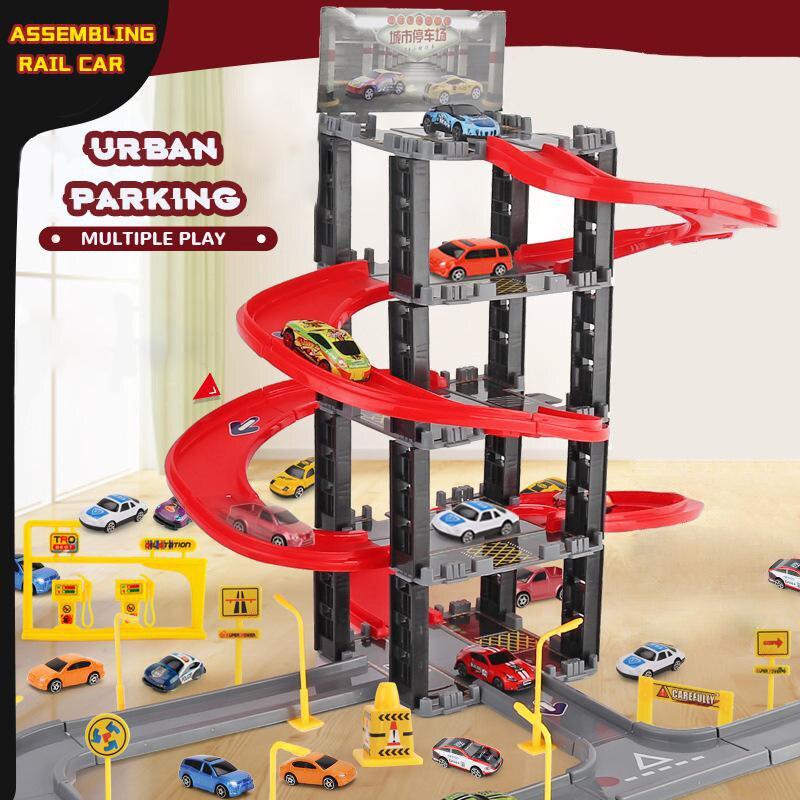 Children's Plastic Parking Toy Set Multi-layer Car Diy Assembled Rail Car Railway Parent-child Interactive Games Cars For Boys
